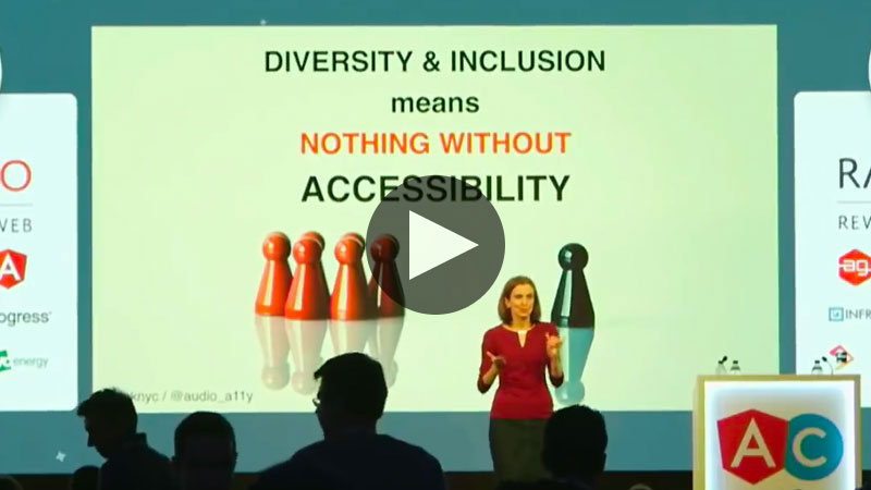 Svetlana presenting in front of a slide saying: Diversity and inclusion means nothing without accessibility.